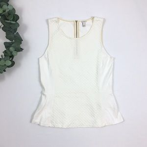 J. Crew ✨ Ivory Textured Dot Peplum Sleeveless Top